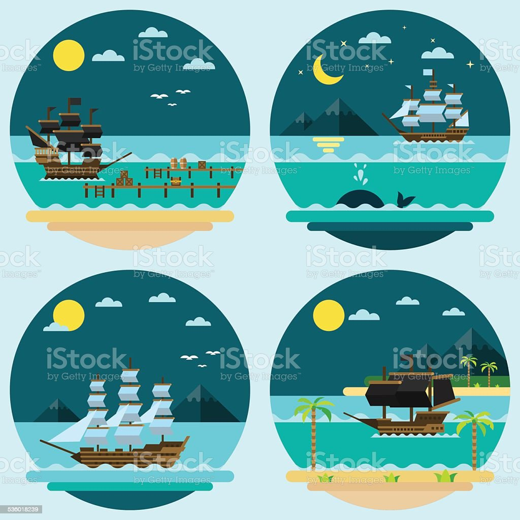 Flat design of pirate ships sailing vector art illustration