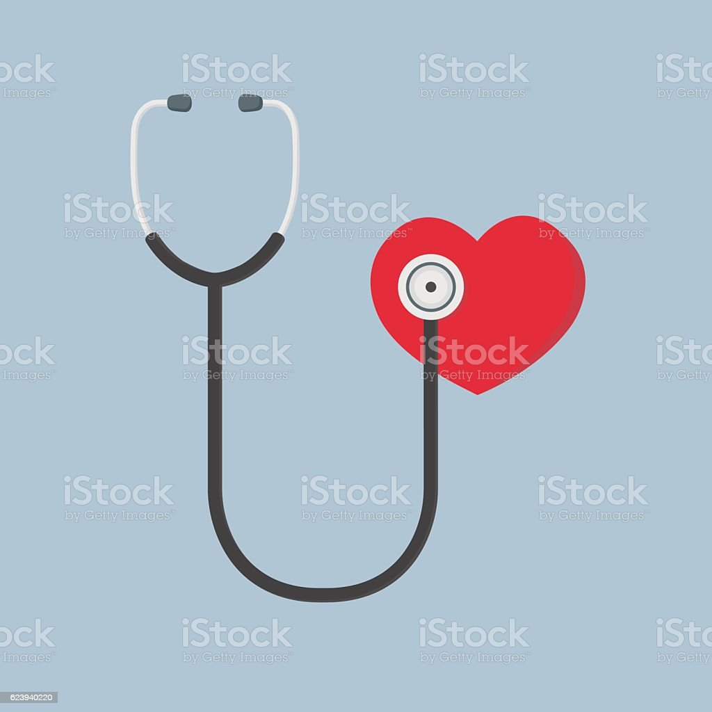 Flat Design Of Red Heart And Stethoscope vector art illustration