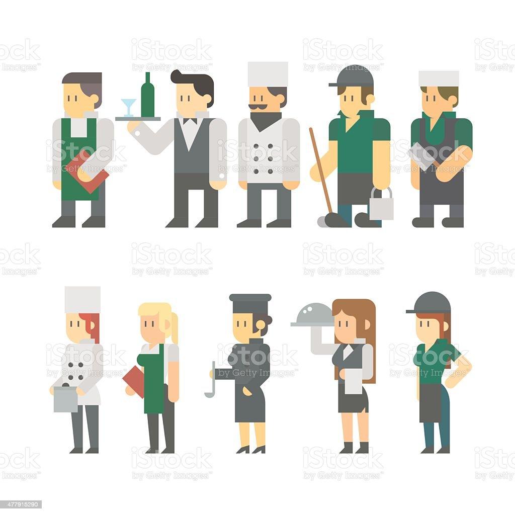 Flat design of restaurant worker set vector art illustration