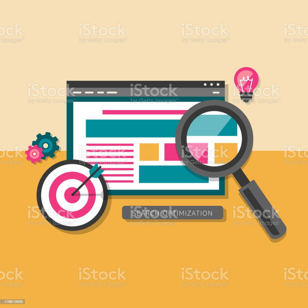 flat design of search optimization vector art illustration
