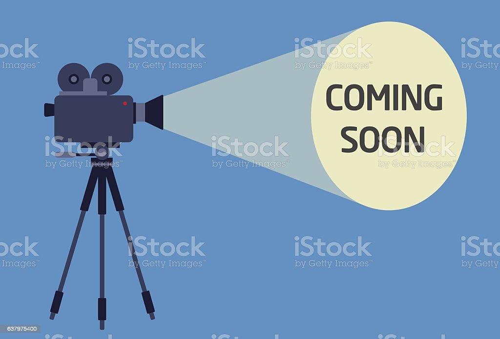 Flat Design of Video Camera With Light Beam vector art illustration