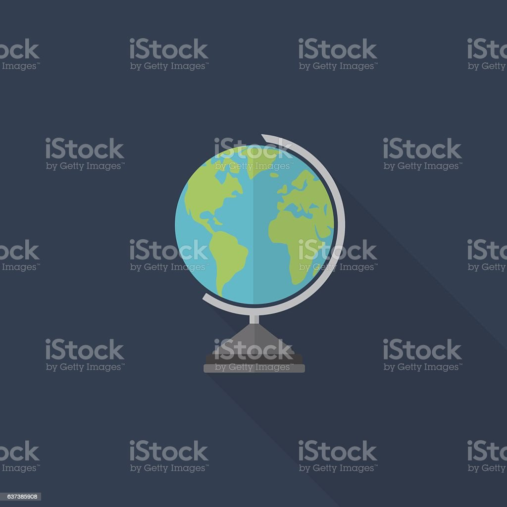 Flat Design Of World Globe, Education Icon vector art illustration
