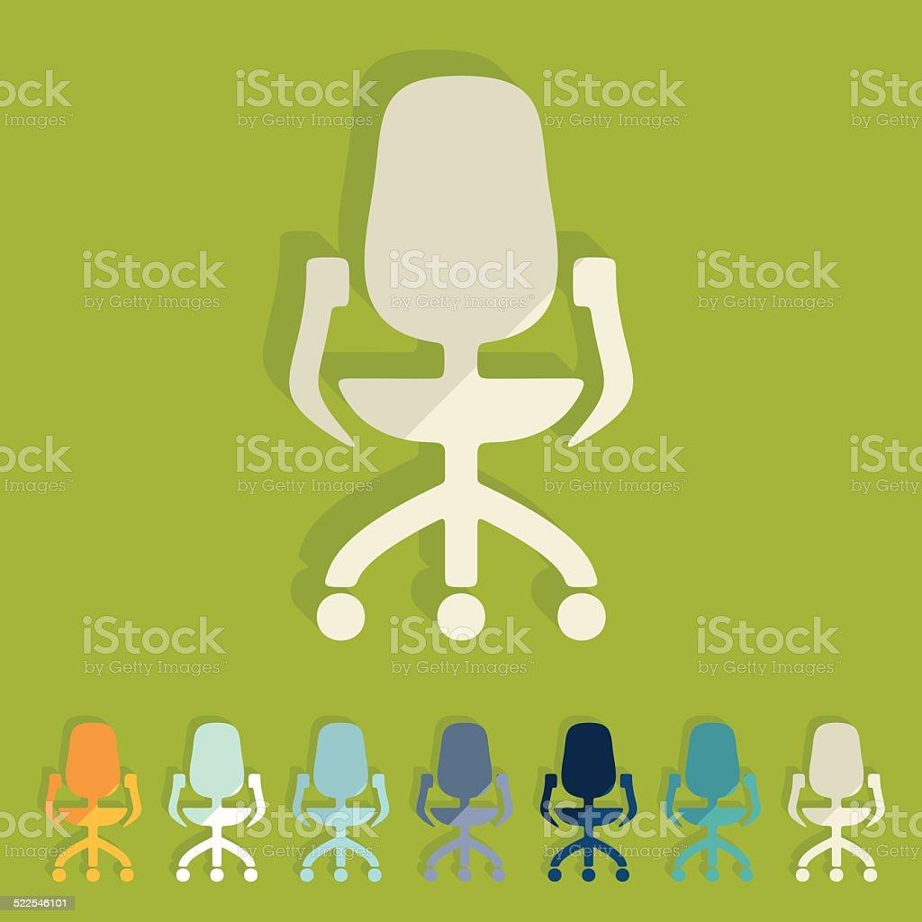 Flat design: office chair vector art illustration