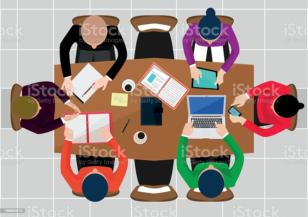 Flat design office workers business in top view vector illustration vector art illustration