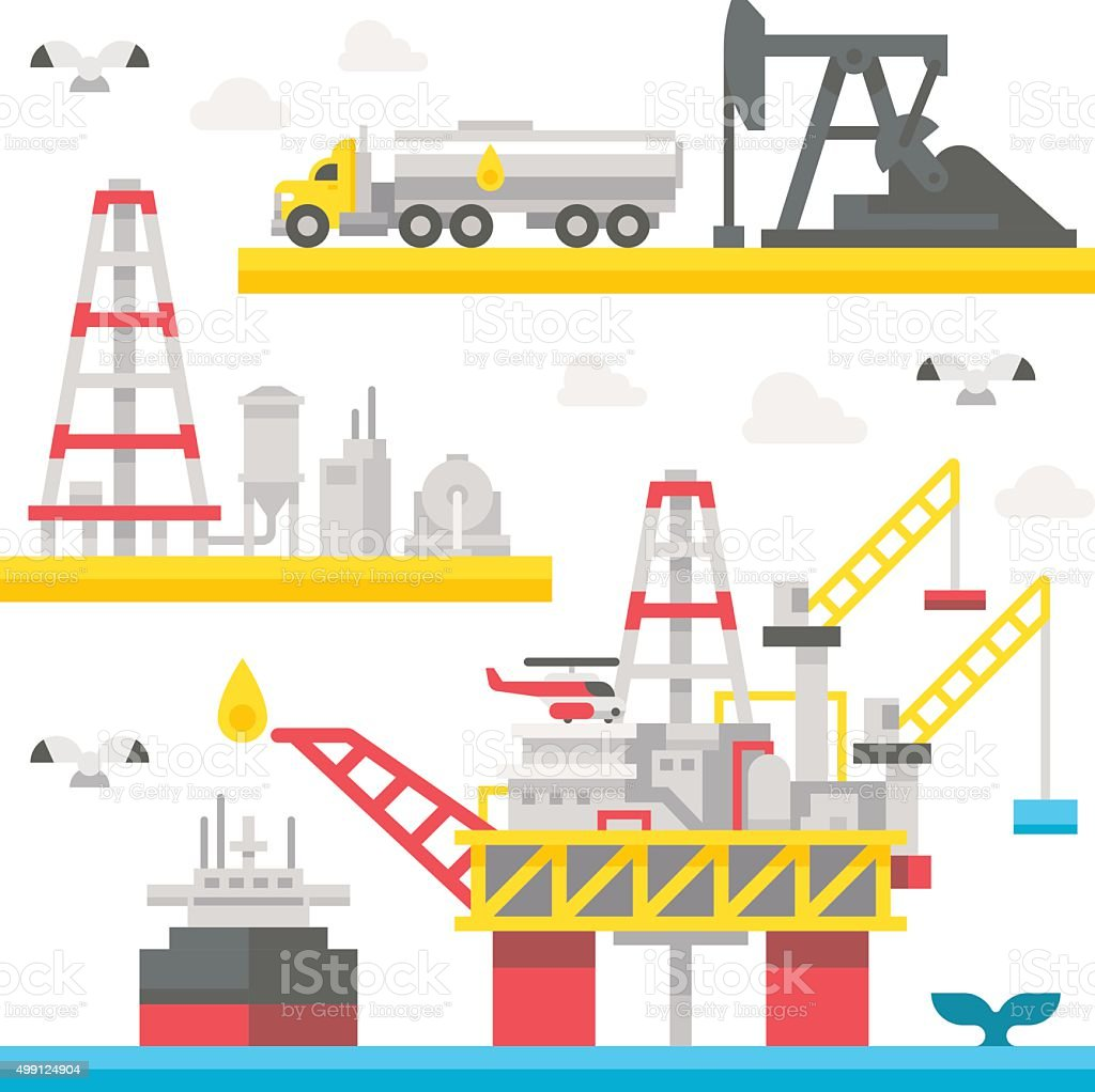 Flat design oil rig set vector art illustration