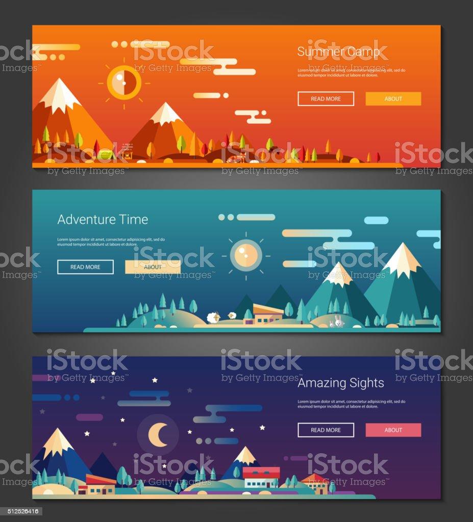 Flat design outdoors activity and tourism landscapes banners set vector art illustration