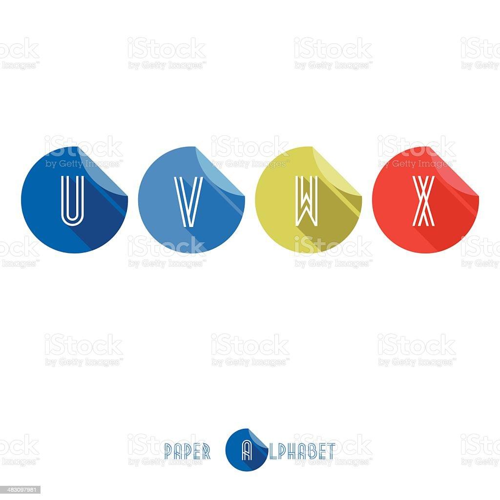 U V W X- Flat Design Paper Button Alphabet royalty-free stock vector art