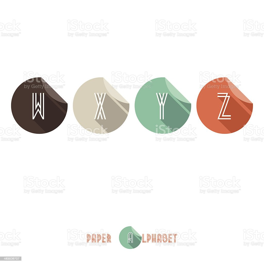 W X Y Z - Flat Design Paper Button Alphabet royalty-free stock vector art