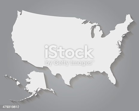 Flat Design Paper United States Of America Map Stock Vector Art - Flat us map