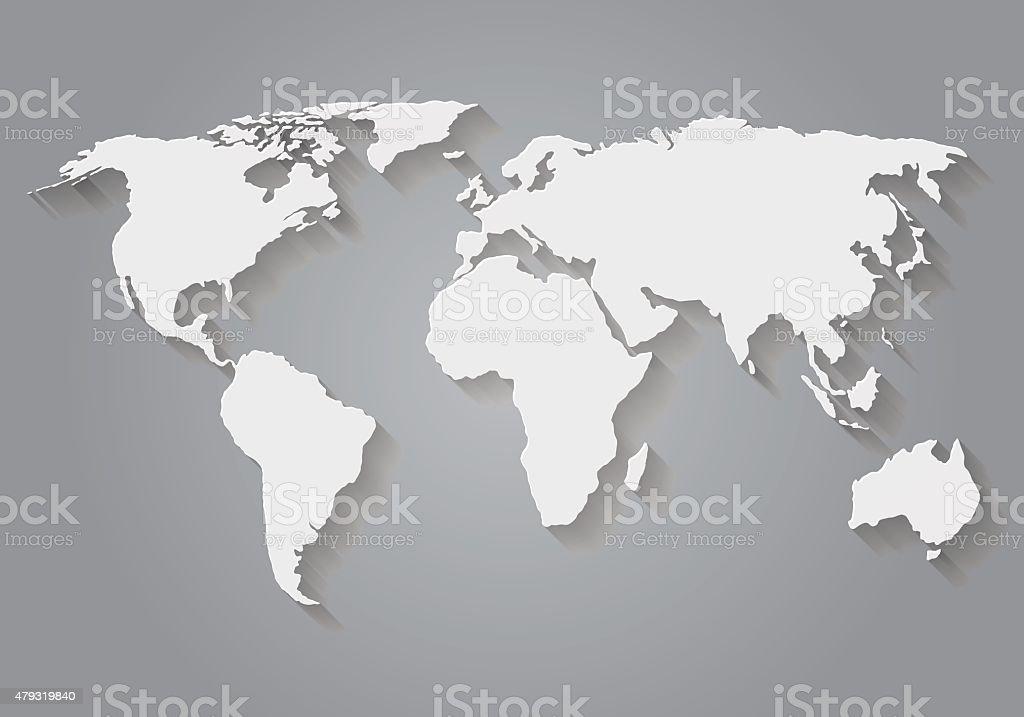 Flat Design Paper World Map vector art illustration