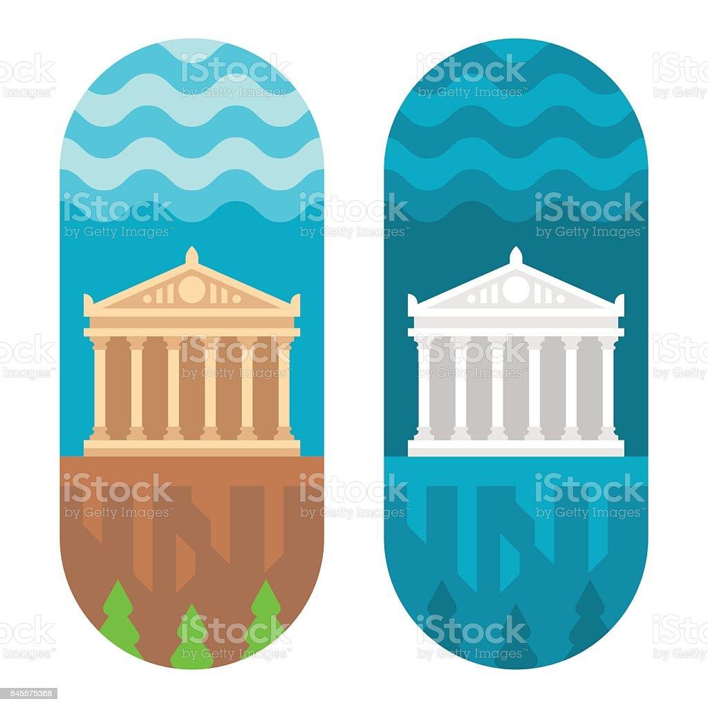 Flat design Parthenon vector art illustration