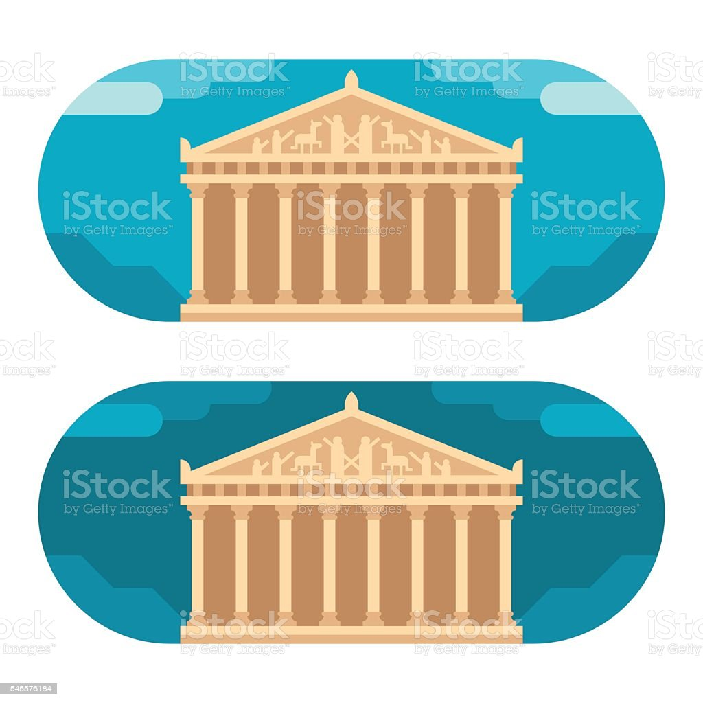 Flat design Parthenon vector art illustration