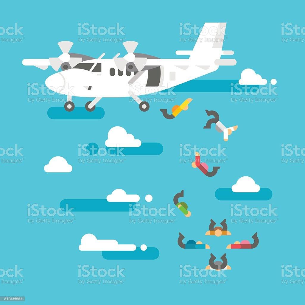 Flat design people skydiving vector art illustration