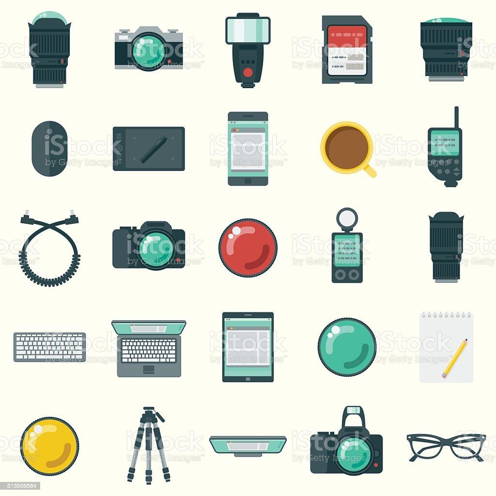 Flat Design Photographer's Elements Icon Set vector art illustration
