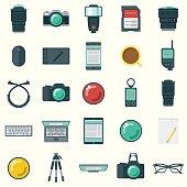 Flat Design Photographer's Elements Icon Set