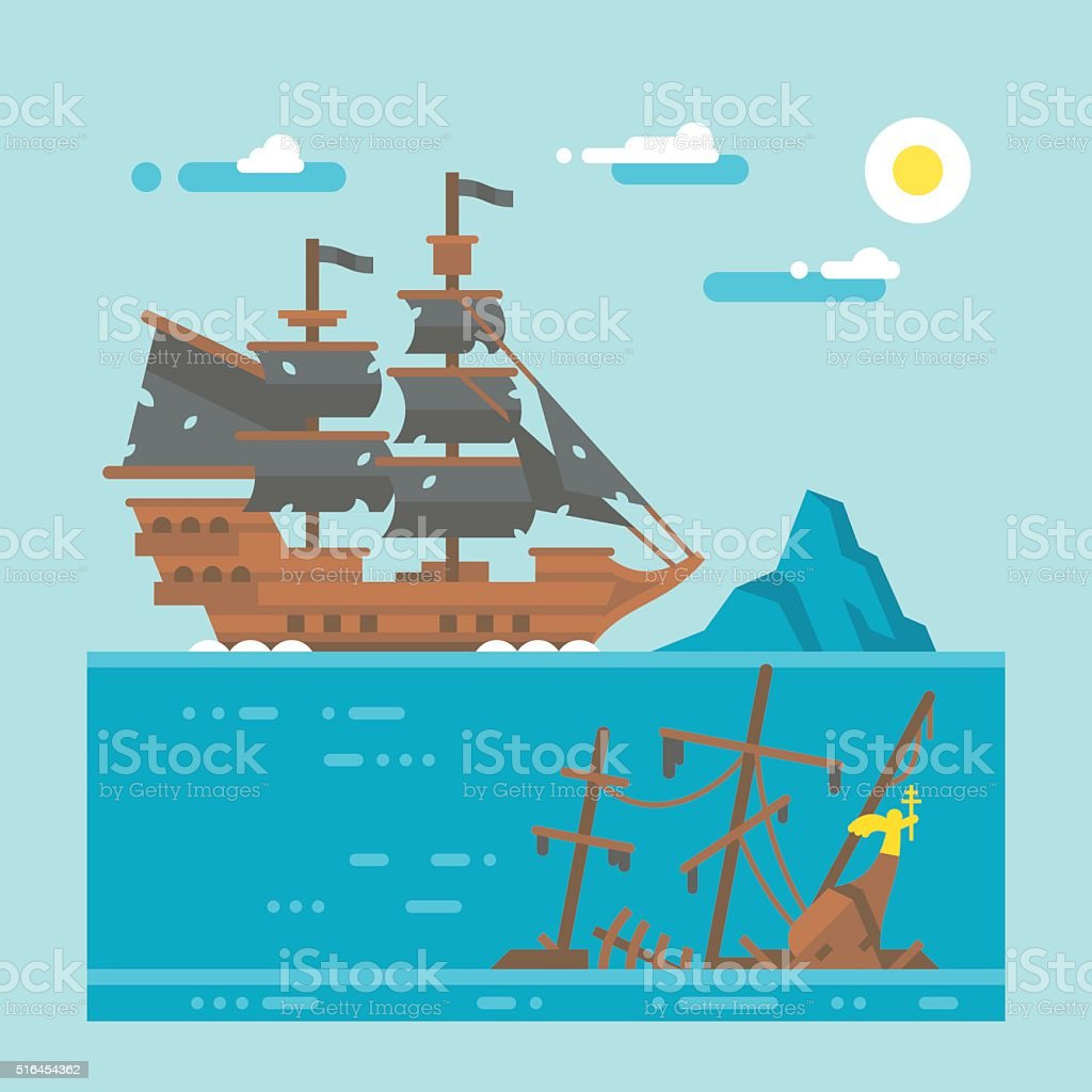 Flat design pirate shipwreck vector art illustration