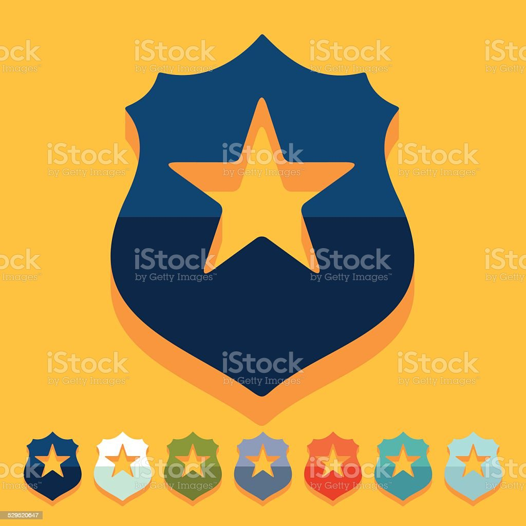 Flat design: police badge vector art illustration