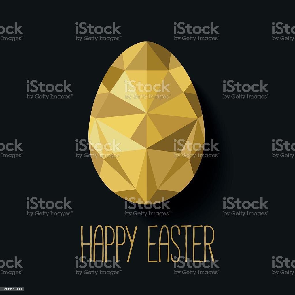 Flat design polygon of golden egg isolated vector art illustration