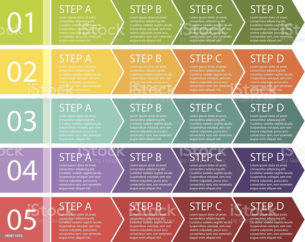 Flat design. Process arrows boxes. Four steps. vector art illustration