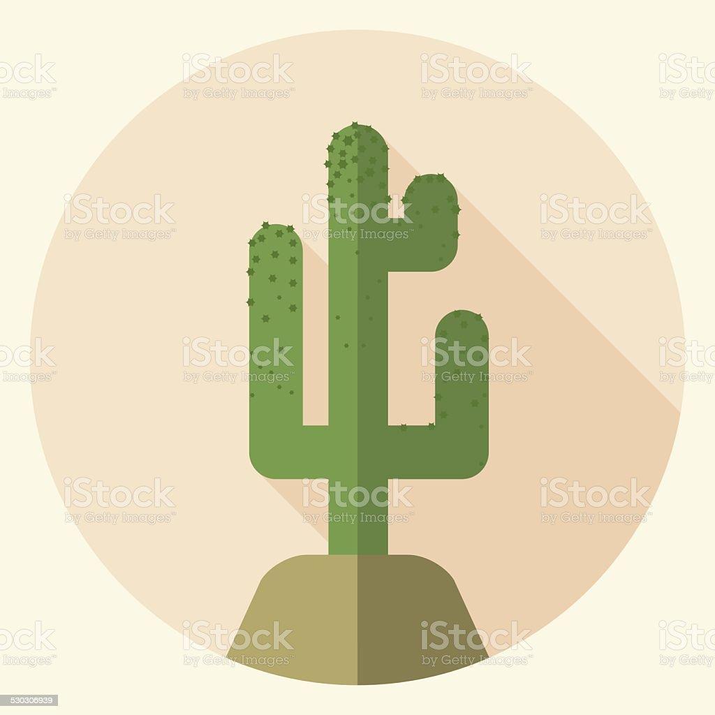 Flat design saguaro icon vector art illustration