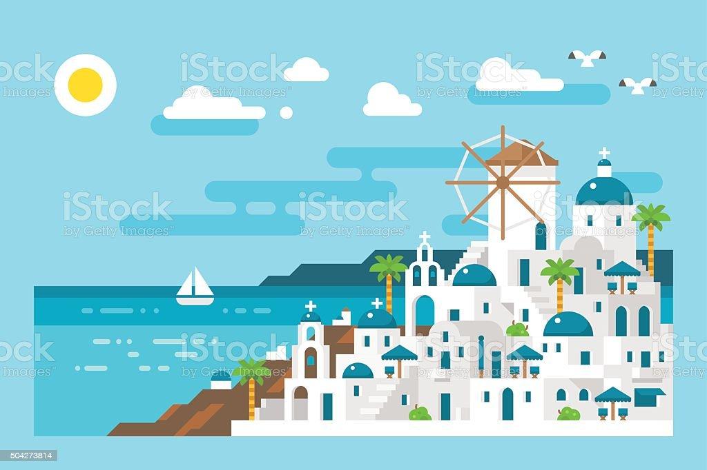 Flat design santorini cityscape view vector art illustration