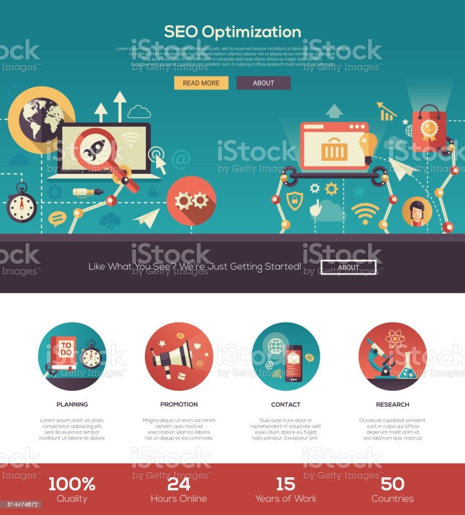 Flat design SEO optimization website header banner with webdesign elements vector art illustration