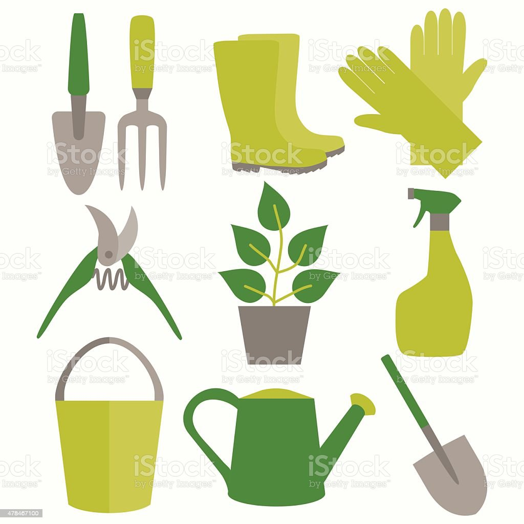 Flat design set of gardening tool icons isolated on white vector art illustration