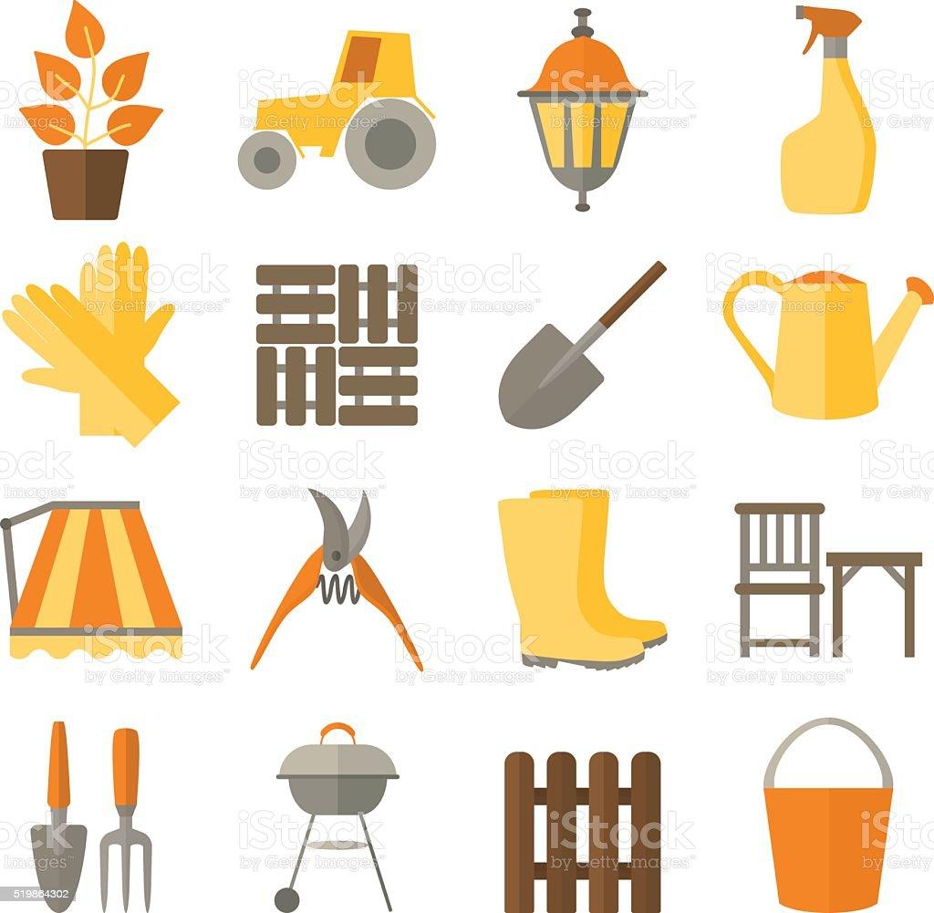 Flat design set of gardening tool icons vector art illustration