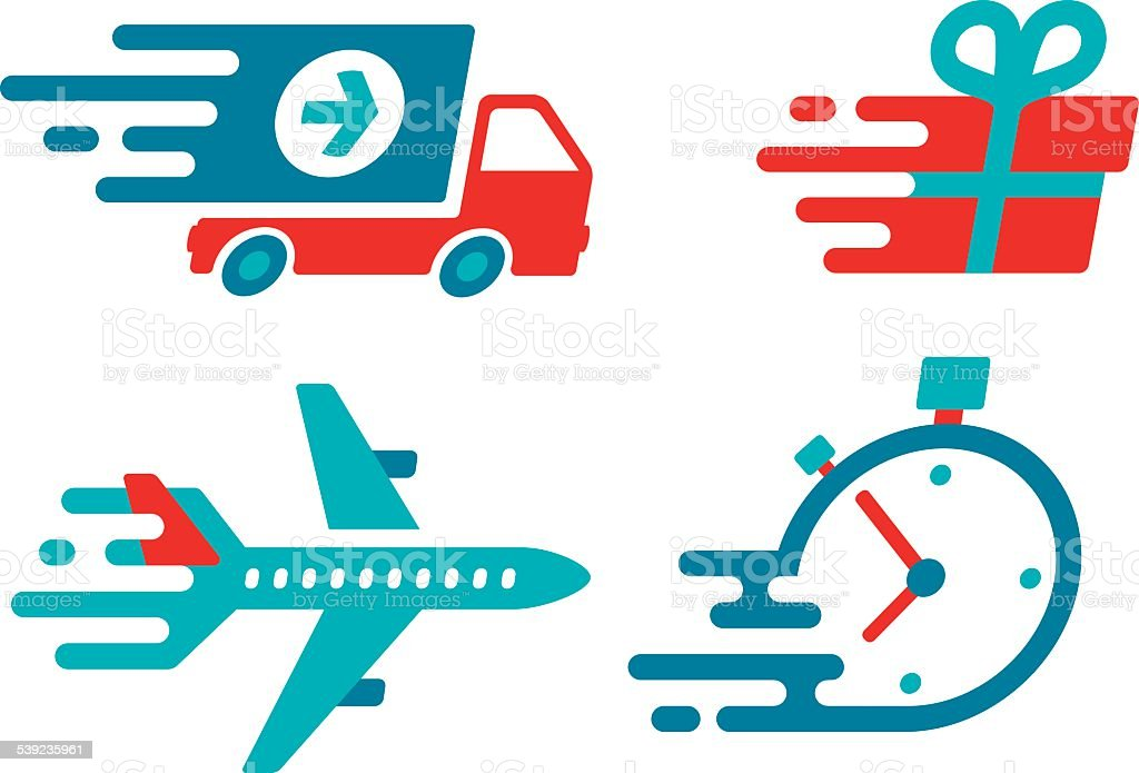 Flat Design Shipping and Delivery Symbols and Icons vector art illustration