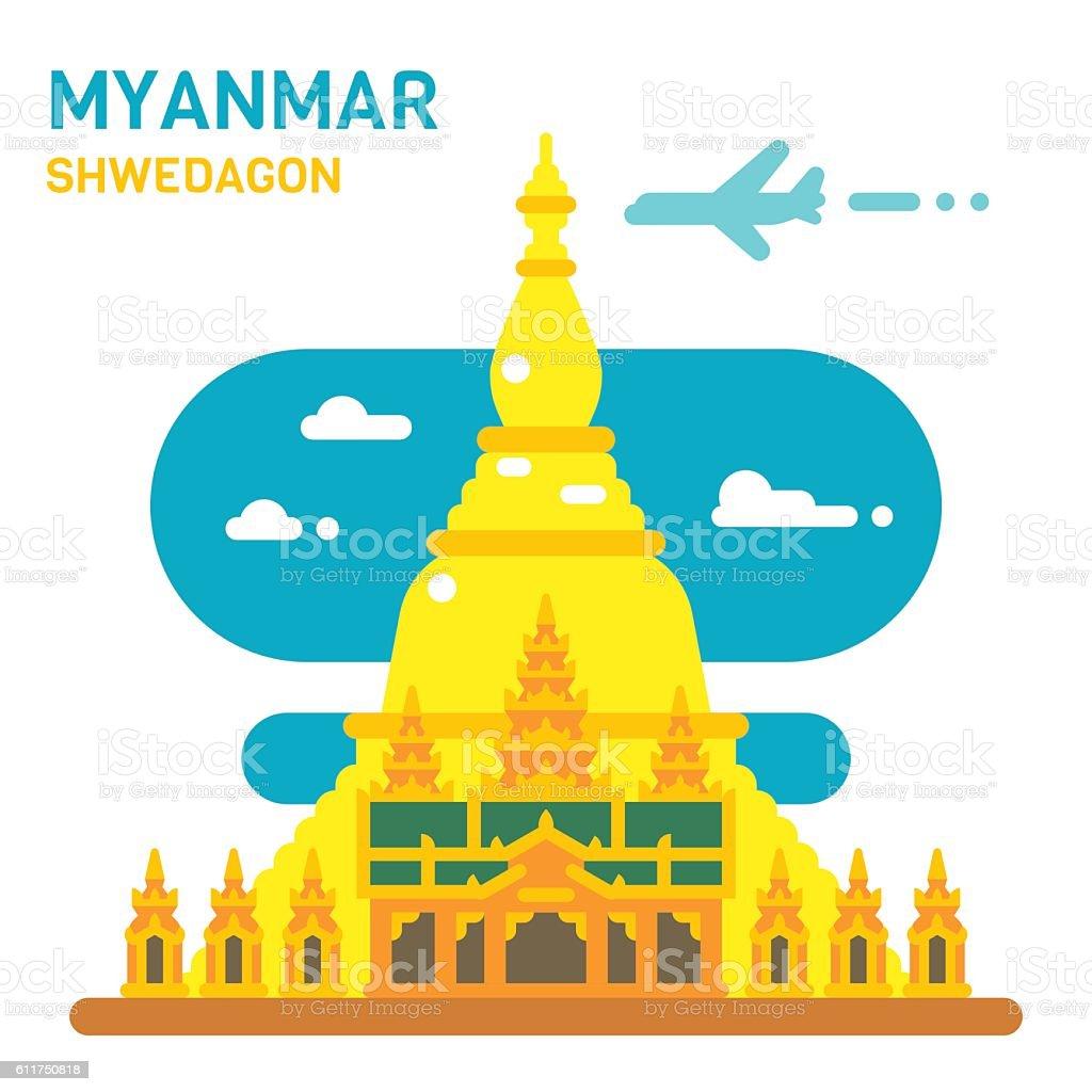 Flat design Shwedagon pagoda vector art illustration