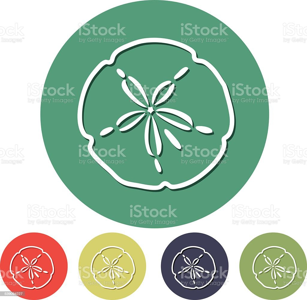 Flat Design Simple Icon - Sand Dollar vector art illustration