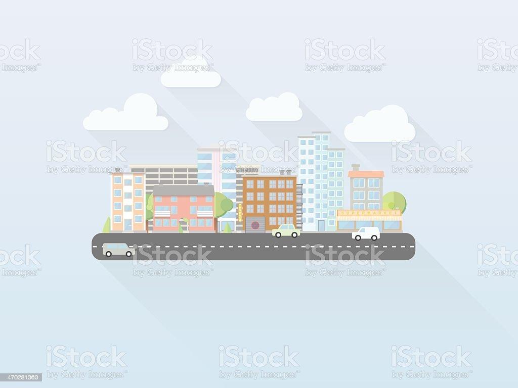 Flat Design Simple Pastel Cityscape Vector Illustration vector art illustration