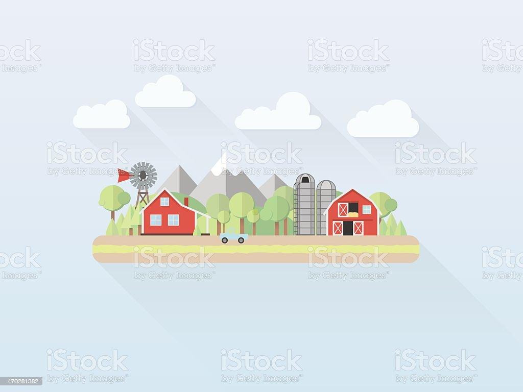 Flat Design Simple Pastel Countryside Vector Illustration vector art illustration