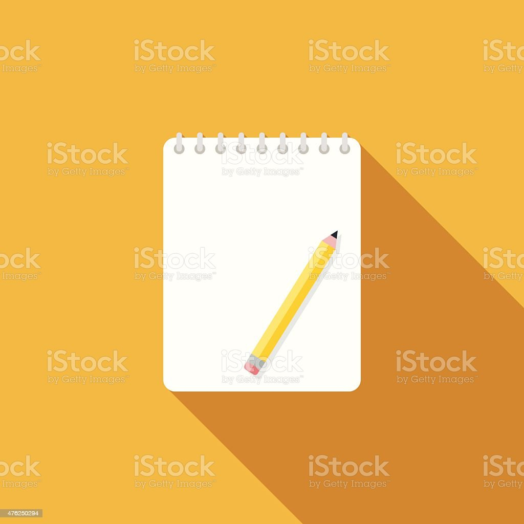 Flat Design Sketchbook Icon With Long Shadow vector art illustration