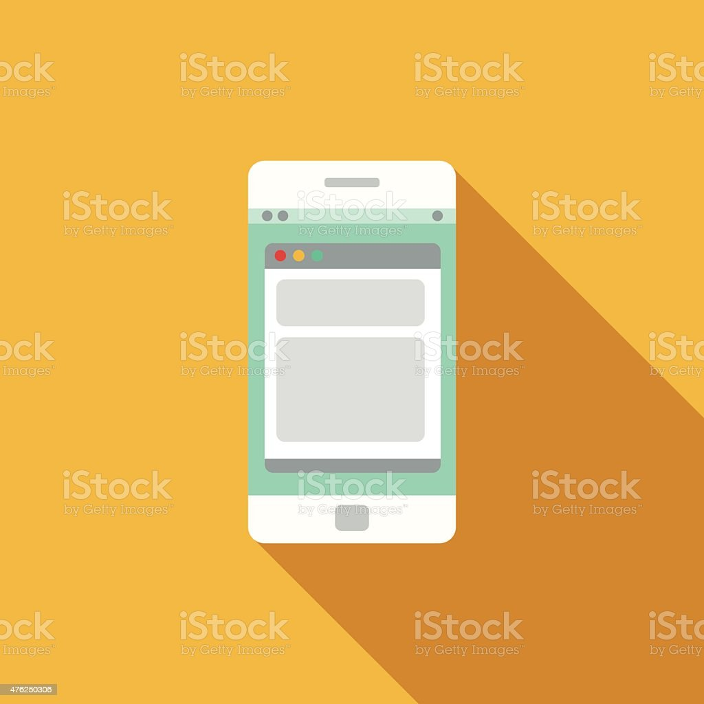 Flat Design Smartphone Icon With Long Shadow vector art illustration