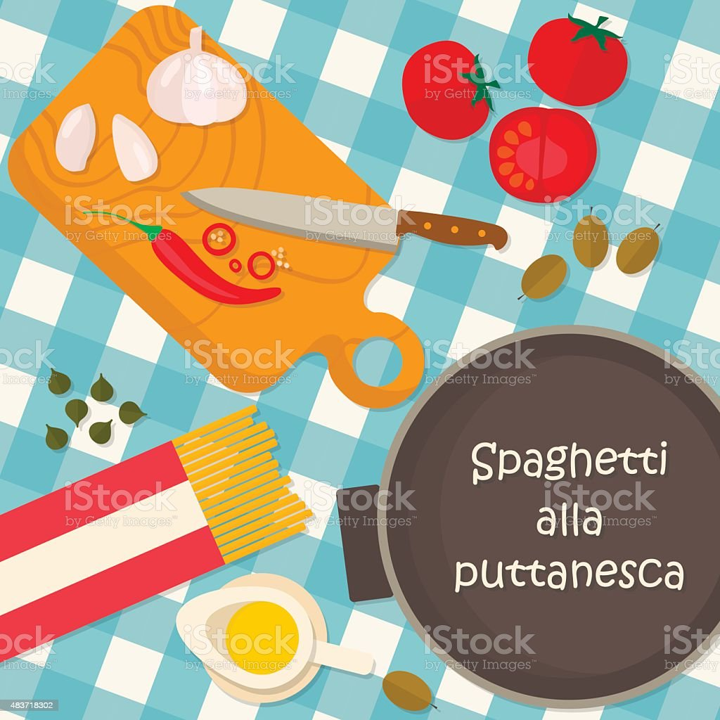 Flat design square banner of Italian traditional cuisine vector art illustration