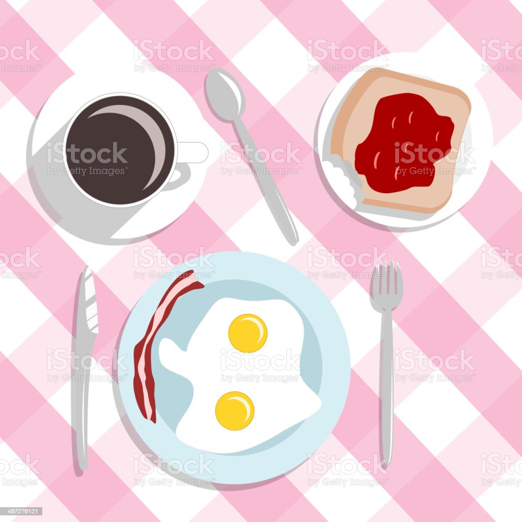 flat design style breakfast concept background vector royalty-free stock vector art