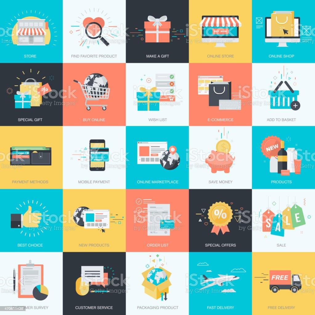 Estilo de diseño plano concepto iconos de comercio electrónico illustracion libre de derechos libre de derechos