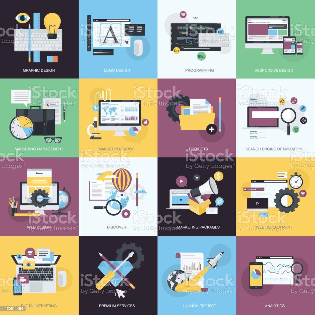 Diseño plano concepto iconos de estilo y diseño gráfico sitio web illustracion libre de derechos libre de derechos