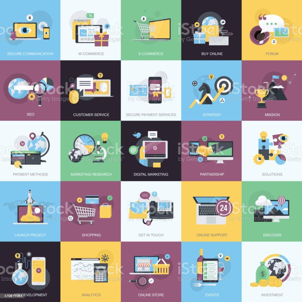 Estilo de iconos de concepto de diseño plano para desarrollo web, business, marketing illustracion libre de derechos libre de derechos