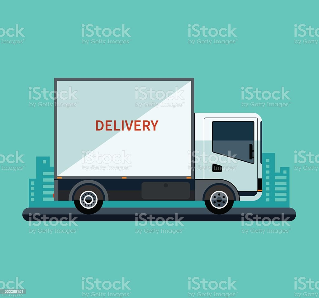 Flat design style  delivery or cargo truck vector art illustration