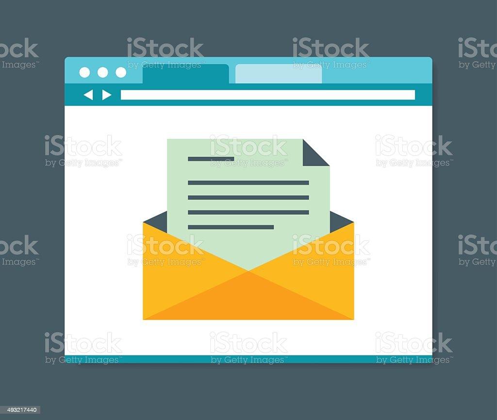 Flat design style e-mail in internet browser vector art illustration