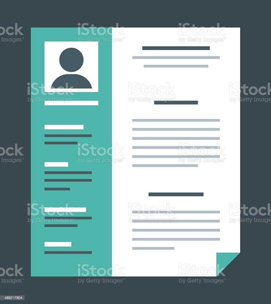 Flat design style professional resume vector art illustration