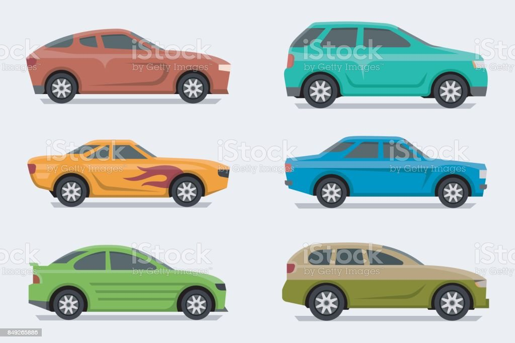 Flat design style vector cars, side view vector art illustration