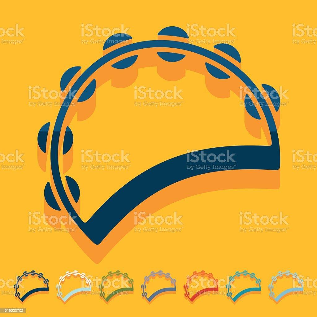 Flat design: tambourine vector art illustration
