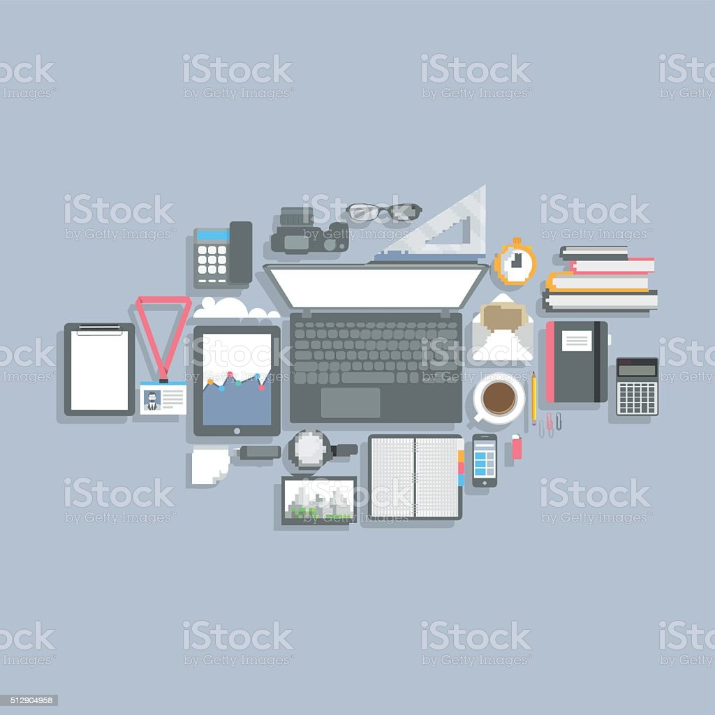 Flat Design top view of working place elements vector art illustration