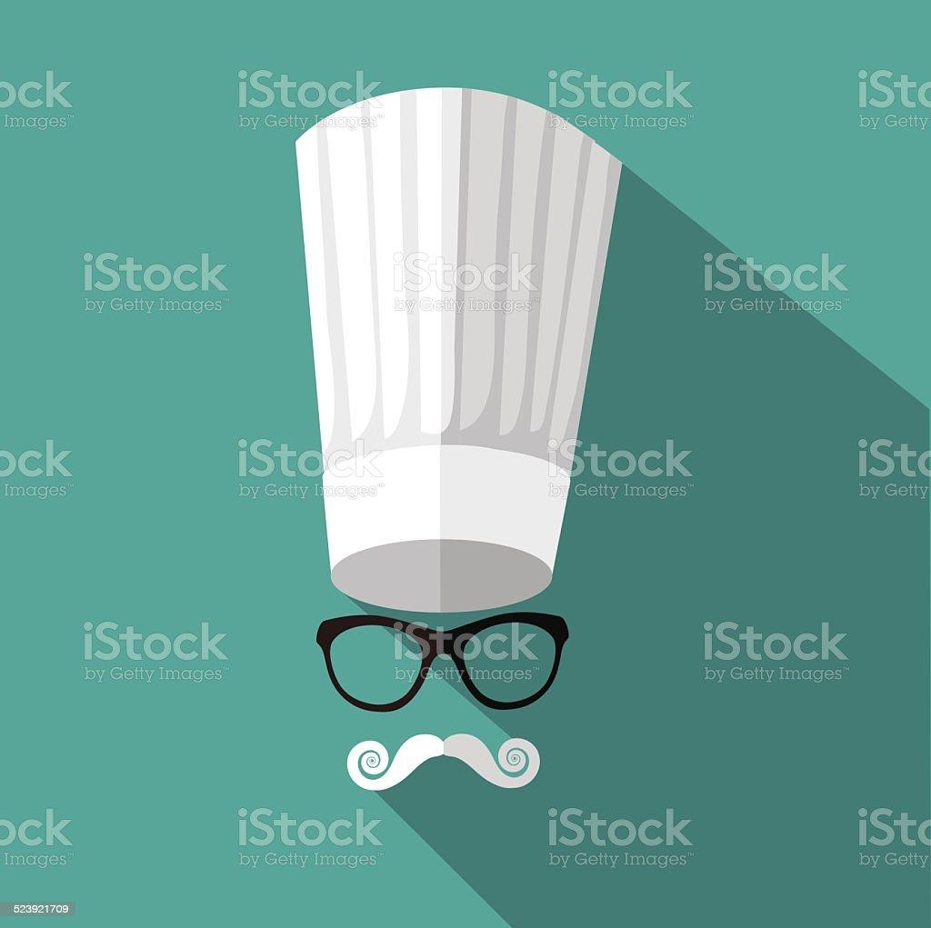 Flat design toque, mustache and glasses vector art illustration