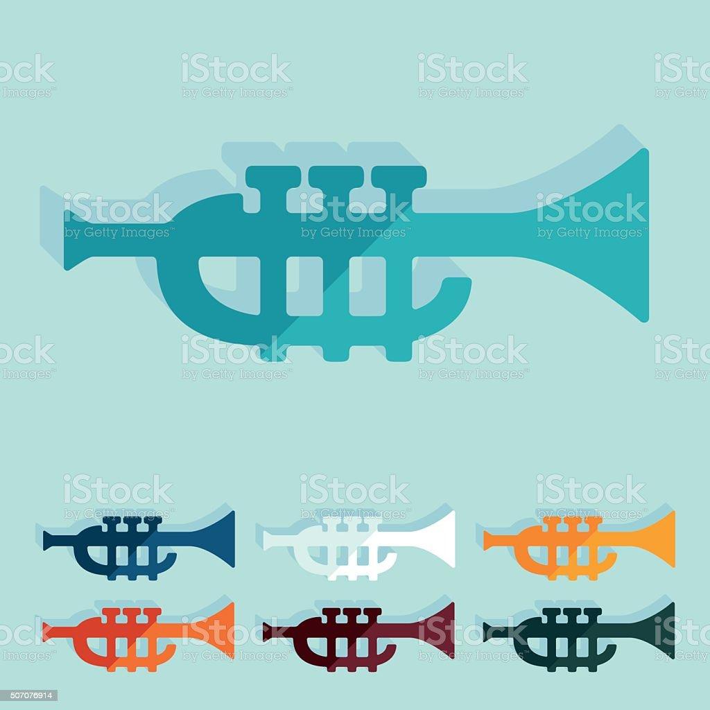 Flat design: trumpet vector art illustration