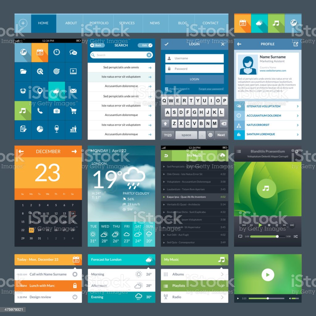 Flat design ui elements for mobile app and web vector art illustration