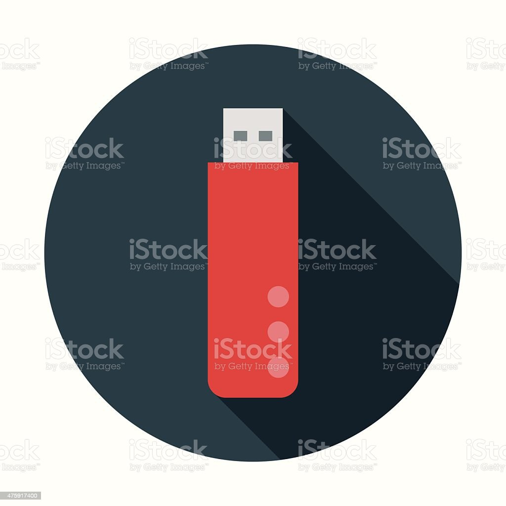 Flat Design USB Flash Drive Icon With Long Shadow vector art illustration